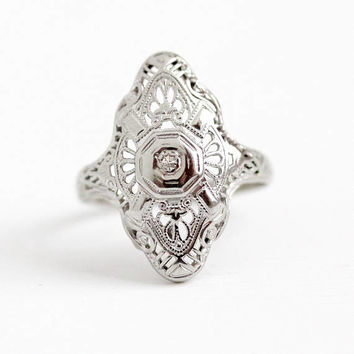 Vintage Filigree Ring - 10k White Gold Genuine Diamond Shield Statement - Art Deco 1930s Size 5 1/4 Lacy Flower Dinner Ring Fine Jewelry