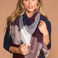 Maggi Plaid Navy and Burgundy Blanket Scarf