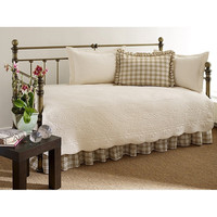 100% Cotton 5 Piece Daybed Bedding Set In Ivory