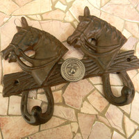 Cast Iron Marines Wall Hook, US Marines ,Horse Double Hook,Military Decor, Kids Room Decor, Military Gifts, Marine Corp Decor, Western Horse