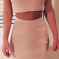 Beige Off the Shoulder Cross Wrap Crop Top Bodycon Midi Skirt Two Piece Dress
