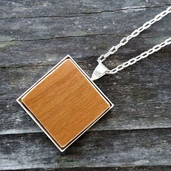 Wooden flooring sample silver-plated necklace