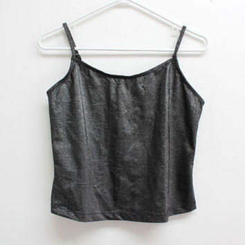 90's Silver Glitter Shiny Club Kid Rave Metallic Grunge Cropped Singlet Tank Top
