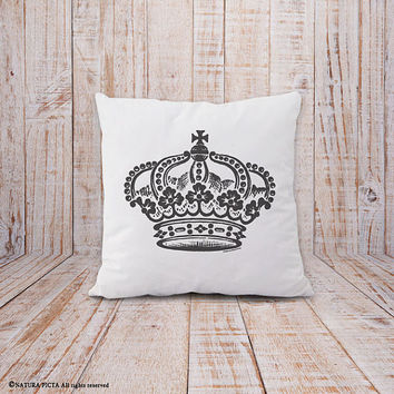 Crown pillow-vintage crown pillow cover-princess pillow-royal crown pillow-french pillow-shabby chic pillow-crown-by NATURA PICTA-NPCP042