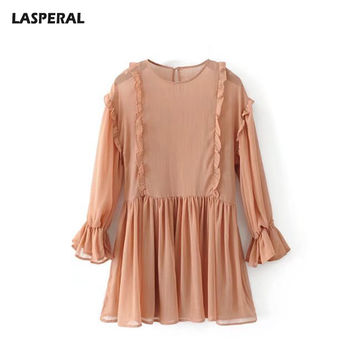 LASPERAL Summer O-Neck Pleated Dress Women Long Lantern Sleeve Patchwork Party Dress Female Solid Draped Beach Mini Vestido
