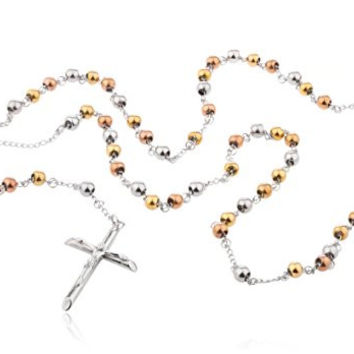 Tri-tone Stainless Steel Jesus Piece Cross with Mother Mary Charm and 2.5mm 36 Inch Rosary Chain