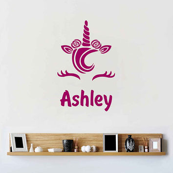 Unicorn wall decal girls name personalized unicorn wall decal unicorn monogram wall decal ik3470