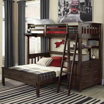 Twin Over Full Bunk Bed Loft With 4-Drawer Chest & Ladder In Espresso Wood Finish