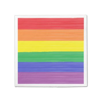 Painted Rainbow Flag Paper Napkin