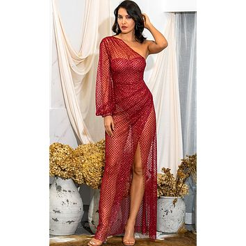If I Could Fly Red Glitter Sheer Mesh One Long Lantern Sleeve Cross Wrap Split Maxi Dress