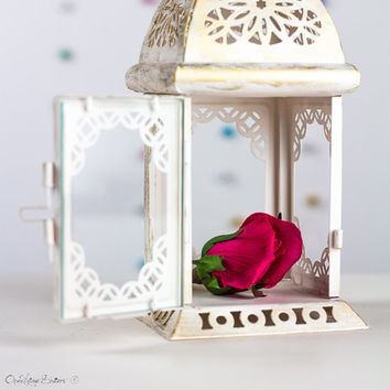 Unique Wedding Lantern, Scheherazade Exotic Lantern, Moroccan Home Decor, Filigree White Metal, Candle Holder, Lantern Centerpiece by OVS