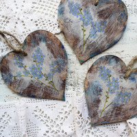 Wooden heart ornaments Valentines day decor Valentine gift rustic off white blue brown forget-me-not wedding favors bridal shower