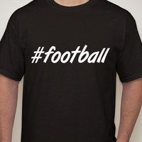 Mens Black Tshirt. #football. Hashtag tshirt for men.football t-shirt. football tee. mens football shirt. mens clothing. mens tees.football.