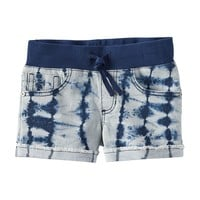 Vanilla Star Ribbed Knit Wide Waistband Jean Shortie Shorts - Girls