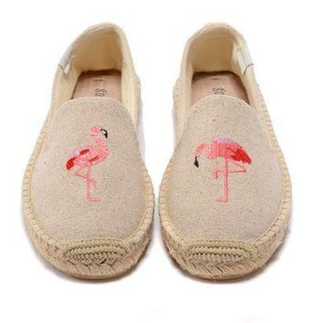 Soludos Women Flamingos Platform Smoking Slipper