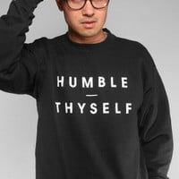 Humble Thyself (Men's Black Crewneck Sweatshirt)