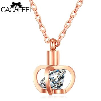 GAGAFEEL Romantic Crown Queen Necklace Women Pendant Jewelry Silver Rose Gold Color Stainless Steel Clavicl Accessory For Girls