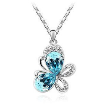 Women's Crystal Pendants Butterfly Full Of Rhinestone Silver Plated Necklace