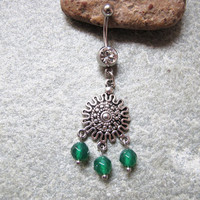 Dream Catcher belly button ring , Agate Beads belly button jewelry