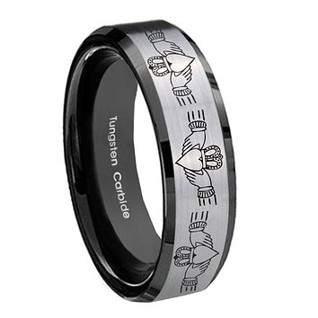 8MM Silver Black Bevel Edges Irish Claddagh Tungsten 2 Tone Laser Engraved Ring