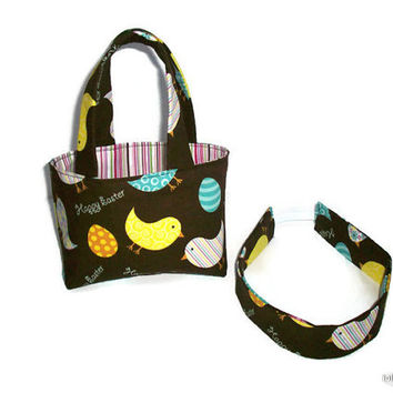 Happy Easter Chicks and Eggs Teeny Tote Mini Basket with Matching Headband