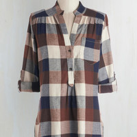 Menswear Inspired Long 3 Bonfire Stories Tunic in Brown Plaid