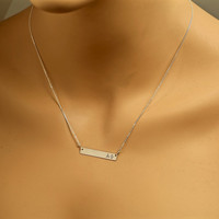 Sorority Bar Necklace, ALL Greek Letters, Alpha Phi, Sigma, Delta, Chi Omega, Theta, Psi,  Sterling Silver, Rose, Rush, College, Fraternity