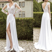 Lace Applique Long Sleeve White Prom Dresses