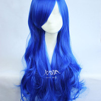 Sapphire Blue Anime Cosplay Wigs Colorful Long high-temperature Standard Sythetic Curls Wig,75cm/29.5''