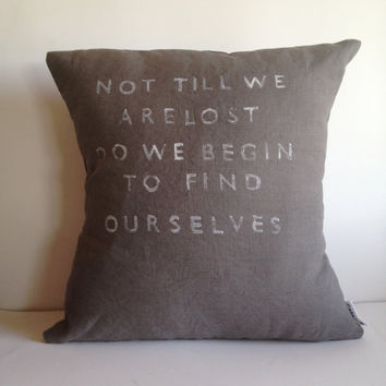 Inspirational Quote Pillow - Handmade Natural Linen Pillow Cover