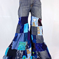 Patchwork Pants, Upcycled Clothing, Boho Clothing, Festival Pants, Flare Pants, Gypsy Clothes, Hippie Clothes, Bloomers, Hippie Pants, Jeans