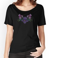'Purple Irises on Black' Women's Chiffon Top by Susan Evans