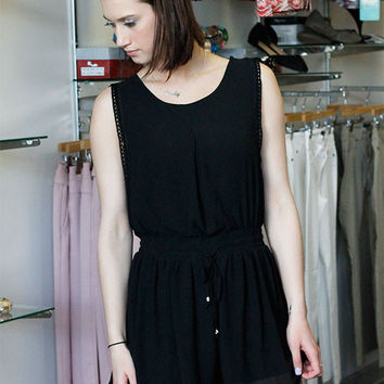 Drop Back Romper - Black