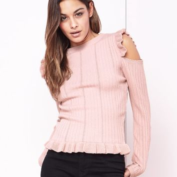 Lipsy Frill Cold Shoulder Jumper