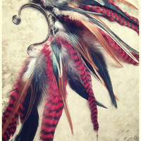 phoenix... tribal feather ear cuff // red