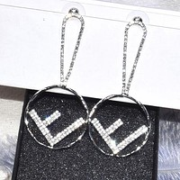 FENDI S925 Silvery Needle Women Shiny Diamond F Letter Pendant Earrings Accessories Jewelry Silvery