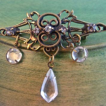 HOBE' Art Nouveau Crystal Bar Brooch Pin, Dangles, Rhinestones, Vintage