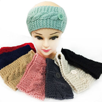 knitted button design headbands ear bands Case of 24