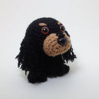 Cocker Spaniel Plush Puppy Amigurumi Dog Black and Tan Stuffed Animal Handmade Crochet Dog Dog Doll / Made to Order