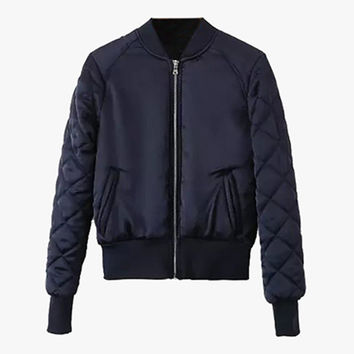 Nylon Quilted Bomber Jacket