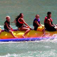 Banana boats, Killer Whales, Red Sharks, Water Tow Able, and Many Lake Toys