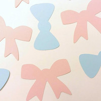 48 Small Die Cut Bows and Bow Ties, Blue Bow Ties, Pink Bows, Gender Reveal Decor, Baby Shower