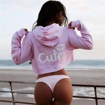 2017 Trending Fashion Women Cute Words Printed Crop Top Hoodie Sweatshirt_ 13517