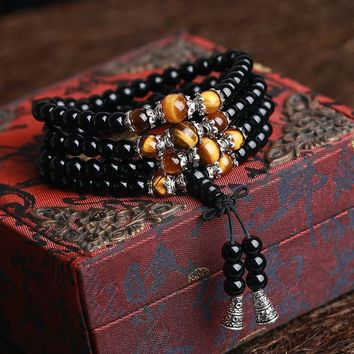 108 Onyx with Tiger's eye Bracelet Black Onyx Stone Tibetan Silver Buddha Bracelet for Women Men Jewelry Hand Made Accessories