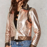 Nasty Gal You Should be Dancing Metallic Leather Jacket