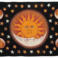 Luna Bazaar Sun and Moon Bohemian Tapestry, Wall Hanging, and Bedspread (Horizontal, 4.5 x 7 Feet, Black, Yellow and Red, 100% Cotton, Fair Trade Certified)