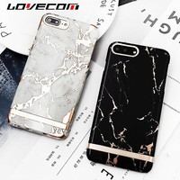 LOVECOM Fashion White Black Marble Lines Case For iPhone 7 7Plus 6 6S Plus Glossy Gold Frame Matte PC Hard Phone Cases Cover Bag