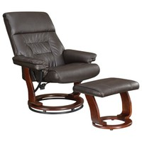 2 pc Typhone II collection chocolate leatherette upholstered reclining chair and ottoman