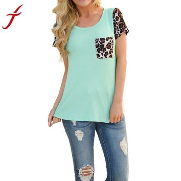 Bohemian  Fashion Women Casual T Shirts Tops Spring short sleeve Leopard Splice Printing Pocket Round Neck Pullover Tops T Shirt