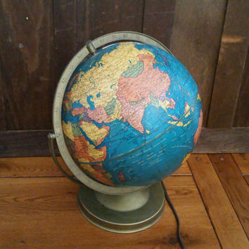 "Vintage 10 1/2"" Double Axis Cram's Plasti-Lite Illuminated Globe on Metal Base Stand Great Decor for the Mantel Library Classroom"
